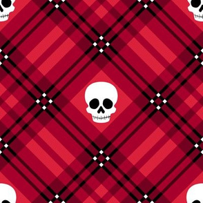 Skull Tartan Plaid in Red