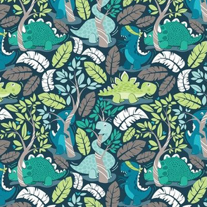 Dinos playing hide-and-go-seek // tiny scale // blue background aqua teal and green dinosaurs
