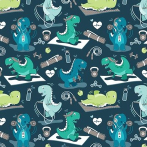 Fitness exercises for a dino // tiny scale // dark blue background aqua teal and green t-rex dinosaurs