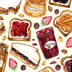 Peanut Butter and Jelly Watercolor 2X