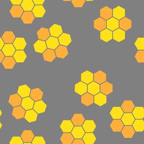 spring bee honeycomb - gray