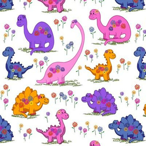 Dinos with Flowers and Smiles - mid scale