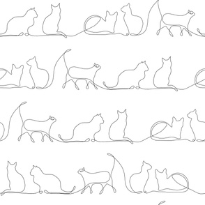 Line Art cats white background {LARGE}