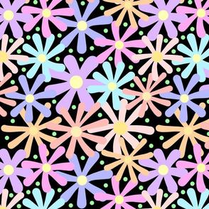 Summer Pastel Daisy Chains #1 black