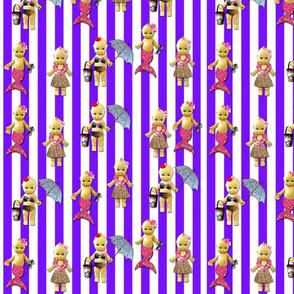 Tropical Cuties, purple stripe BadaBlingDigitalArt