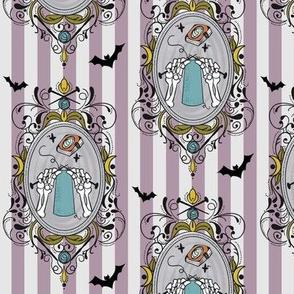 Knit Cameo w/ Bats Mauve Stripe