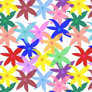 Shabby Chic Rainbow Daisies! White, small