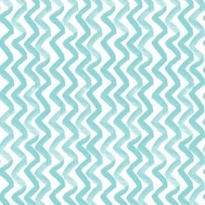 Zig Zag waves - turquoise rotated