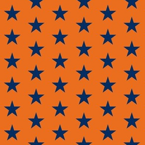 astros star fabric - navy and orange star fabric, sports star fabric, star fabric - orange