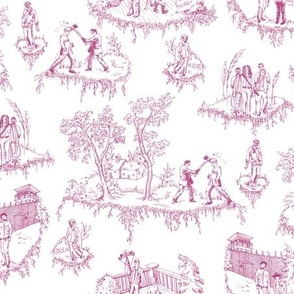 Zombie Toile - Pink on White