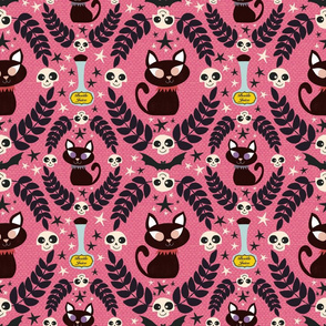 Black Cats and Bats on Pink