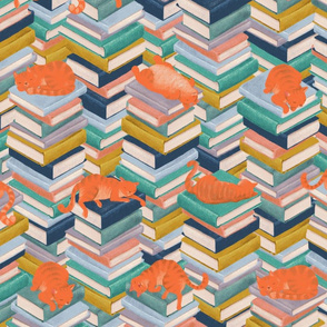 Book stacks with napping cats