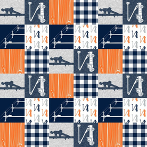 "(3"" small scale) Lineman patchwork - navy, grey, orange 2 - wholecloth plaid (90) - C19BS"