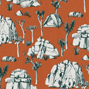 Joshua Tree Toile - Forest Green on Rust