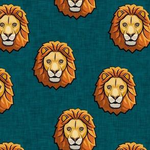 Lion - dark teal - LAD19