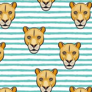 lioness - aqua stripes - LAD19