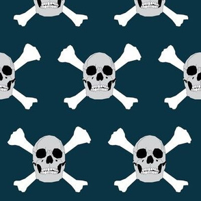 Pirate Skull & Crossbones on Blue