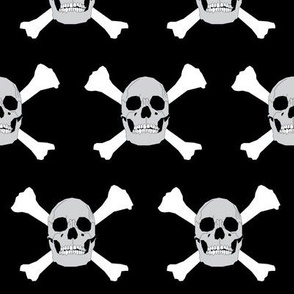 Pirate Skull & Crossbones on Black