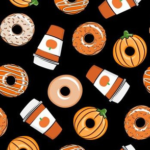 Coffee and Fall Donuts - PSL pumpkin fall donuts toss - black - LAD19
