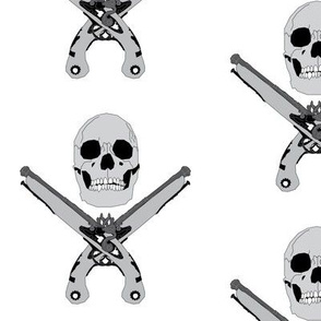 Pirate Skull & Pistols on White