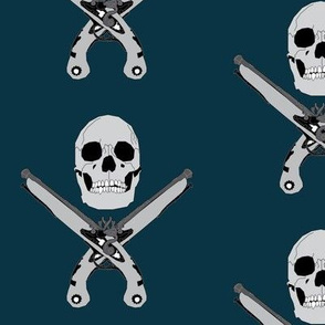 Pirate Skull & Pistols on Blue