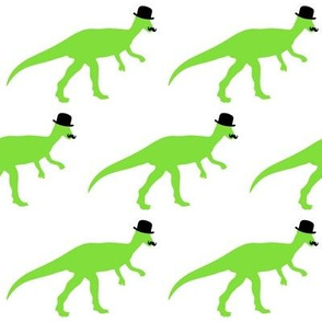 Cool Pachycephalosaurus  with Bowler Hat and Moustache on White