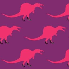 Cool Pink Spinosaurus in Heels on Purple
