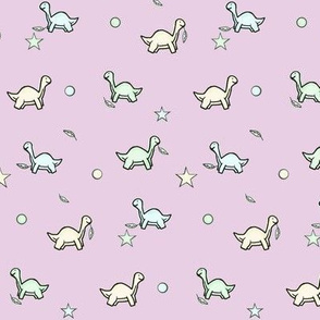 Pastel Veggie Dino / Mama & Baby Dinosaurs / polka-dots, Stars & leave Small  -Lavender/purple