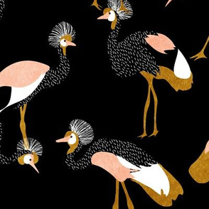 crowned cranes - black mustard & peach