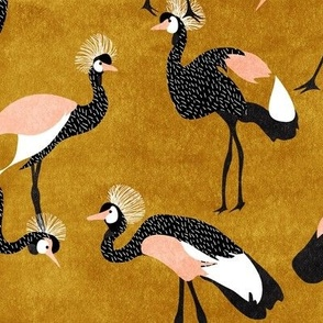crowned cranes - mustard, black & peach
