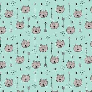 Sweet little baby beaver geometric crosses and arrows fabric gender neutral mint SMALL