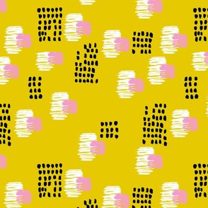 Abstract raw brush dots and dashes pop design in mustard SMALL
