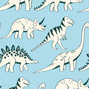 dinosaur parade - light blue