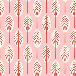 tropical leaves - blush background