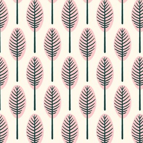 tropical leaves - blush on cream background