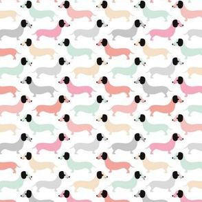 Vintage winter doxie sausage dogs dachshund illustration pattern pastel mint pink coral girls