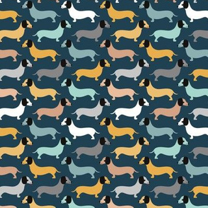 Vintage winter doxie sausage dogs dachshund illustration pattern navy blue caramel gray boys