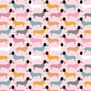 Vintage summer doxie sausage dogs dachshund illustration pattern pastel mint pink coral girls