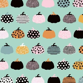 Sweet fall inky texture pumpkin picking autumn garden halloween gourds print mint orange pink girls