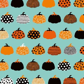Sweet fall inky texture pumpkin picking autumn garden halloween gourds print blue orange