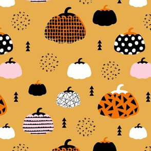 Sweet fall inky texture pumpkin mix picking autumn garden halloween gourds print honey orange pink girls