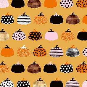 Sweet fall inky texture pumpkin picking autumn garden halloween gourds print honey orange pink girls