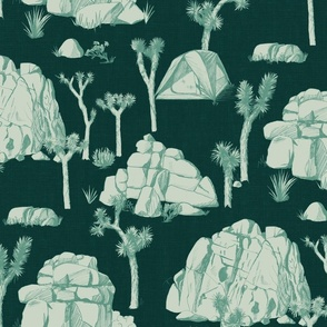 Joshua Tree Toile - Mint on Forest Green