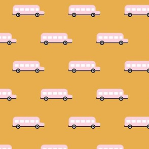 Sweet American school bus traffic design for back to school fabric and fashion pink yellow kids