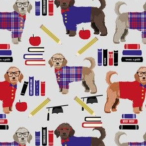 golden doodle teacher fabric - school, graduate fabric, graduation fabric, golden doodle - grey