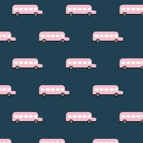 Sweet American school bus traffic design for back to school fabric and fashion pink night navy blue girls