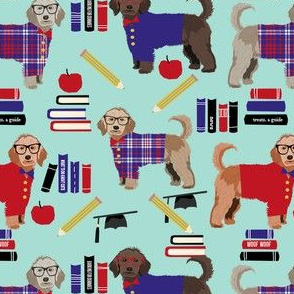 golden doodle teacher fabric - school, graduate fabric, graduation fabric, golden doodle - mint