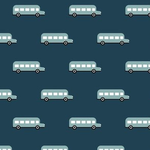 Sweet American school bus traffic design for back to school fabric and fashion stone blue night navy boys