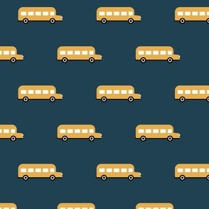 Sweet American school bus traffic design for back to school fabric and fashion yellow night navy blue boys