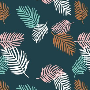 Sweet pastel palm leaf surf island summer vibes boho garden navy blue pink winter